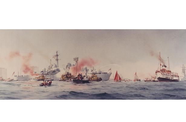 HMS Bristol returning from the Falklands war