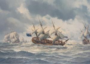 74 gun ship HMS Torbay at the Battle of Quiberon Bay 1759
