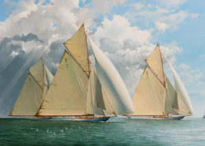 19 Metre Yachts racing in the Solent c1912